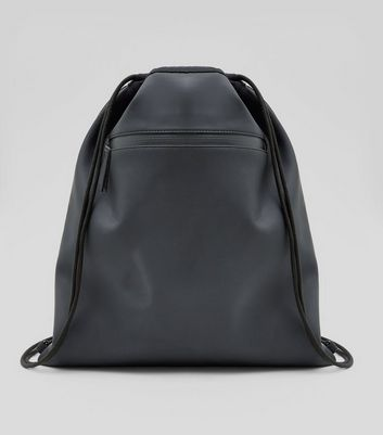 Black Coated Drawstring Backpack