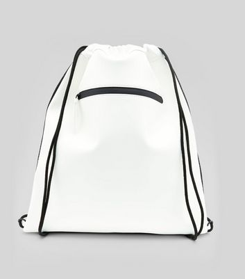 White Zip Front Drawstring Bag