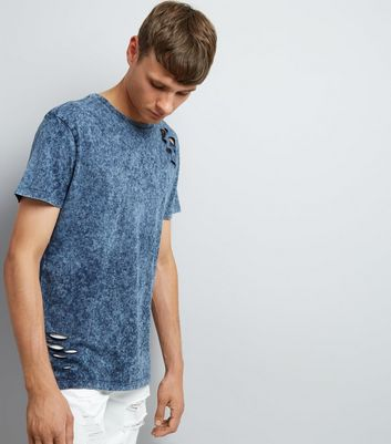 Blue Ripped Acid Wash T-Shirt