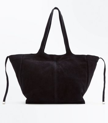 Black Suede Slouchy Tote Bag