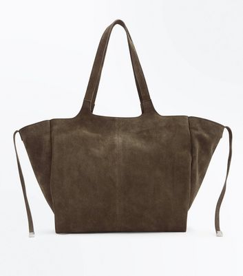 Khaki Suedette Slouchy Tote Bag