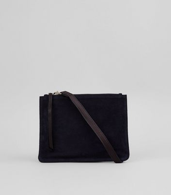 Black Real Leather Cross Body Bag