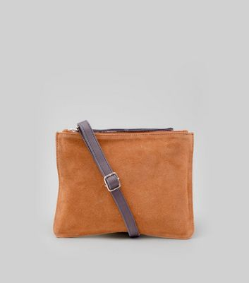 Tan Suede Zip Top Cross Body Bag