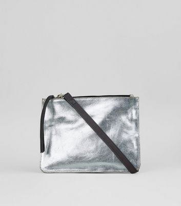 Silver Leather Zip Top Cross Body Bag