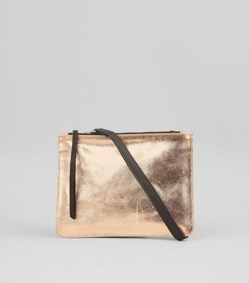 Rose Gold Leather Zip Top Cross Body Bag