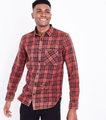 Red Acid Washed Check Print Shirt