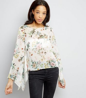 Cream Floral Print Hanky Sleeve Top