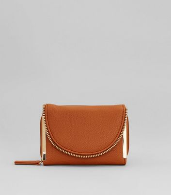 Tan and Gold Zip Around Purse
