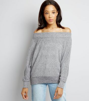 Grey Bardot Neck Jumper