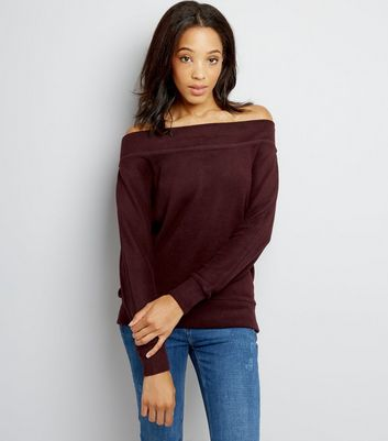 Burgundy Bardot Neck Jumper