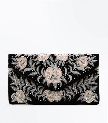 Black Floral Embellished Clutch Bag