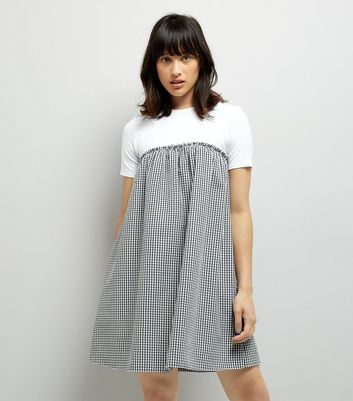 Black Gingham Check 2 in 1 Dress