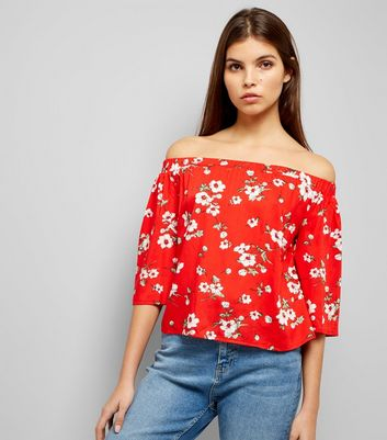 Parisian Red Floral Print Bardot Neck Top