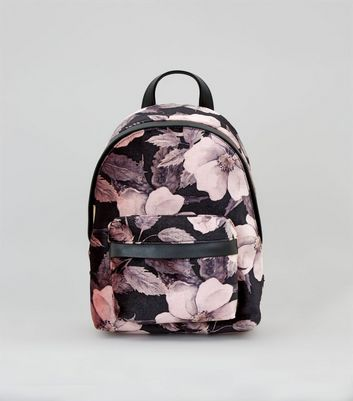 Pink Digital Floral Printed Velvet Mini Backpack