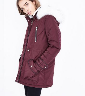 Burgundy Faux Fur Trim Hooded Parka | New Look