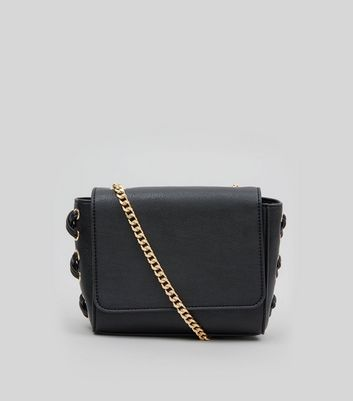 Black Lace Up Side Cross Body Bag