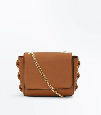Tan Lace Up Side Cross Body Bag