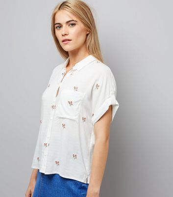 Cream Embroidered Short Sleeve Shirt