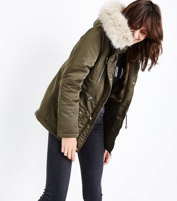 Khaki Faux Fur Lined Short Parka