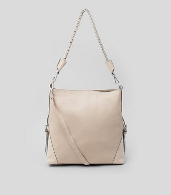 Cream Textured Oversized Shoulder Bag