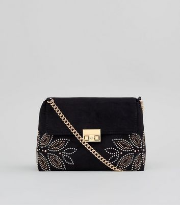 Black Stud Embellished Cross Body Bag