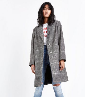 Brown Check Longline Collared Coat