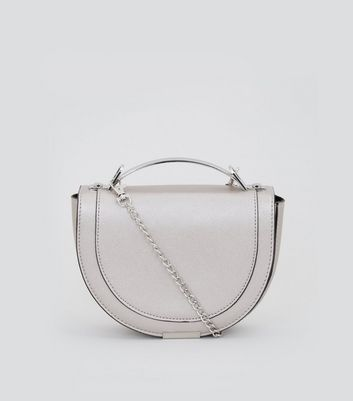 Silver Curved Metal Handle Cross Body Bag