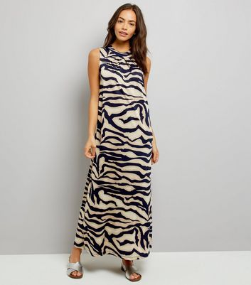Mela Navy Abstract Print Maxi Dress