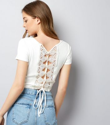 White Lace Up Back Ribbed T-Shirt