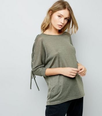 Khaki Fine Knit Eyelet Lace Up Batwing Sleeve Top
