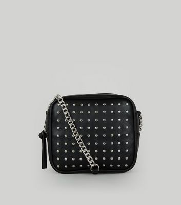Black Studded Square Cross Body Bag