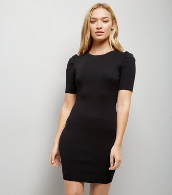 Black Puff Sleeve Bodycon Dress