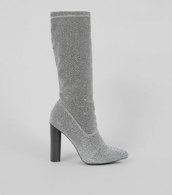 Wide Fit Silver Glitter Block Heel Pointed Calf Boots