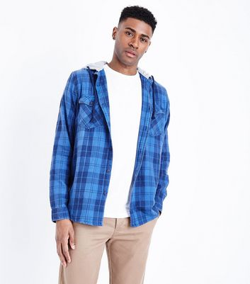 Blue Hooded Check Print Shirt