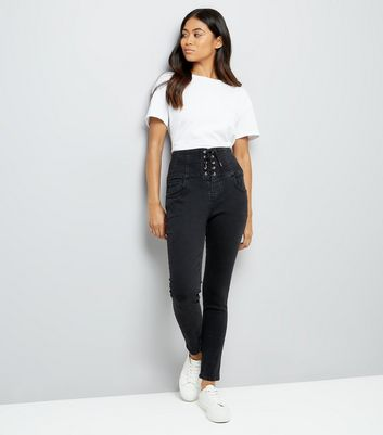 Petite Black Eyelet Lace Up High Waist Skinny Jeans