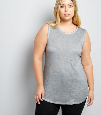 Curves Grey Stud Embellished Vest