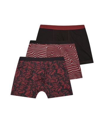 3 Pack Burgundy Leaf Print Boxer Briefs
