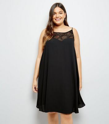 Curves Black Lace Trim Dress