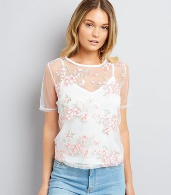 White Mesh Floral Embroidered T-Shirt