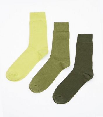 3 Pack Green and Khaki Gradient Socks