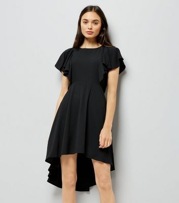 Black Dip Hem Frill Trim Dress