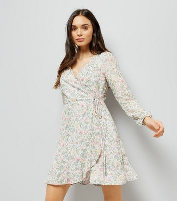 Grey Floral Print Wrap Front Tea Dress