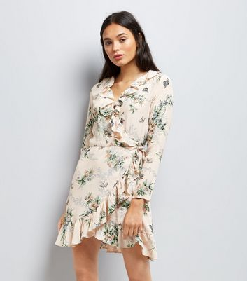 Shell Pink Floral Print Wrap Front Dress