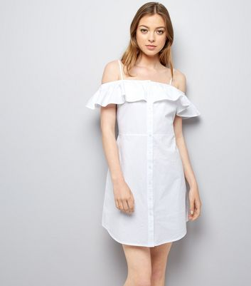 White Button Front Cold Shoulder Sundress