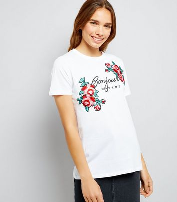 White Floral Embroidered Badge T-Shirt