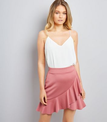 Pink Asymmetric Frill Mini Skirt