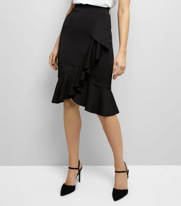 Black High Waist Frill Trim Midi Skirt