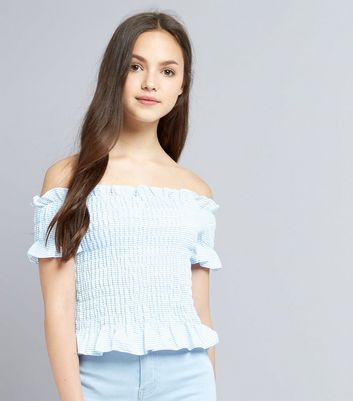 Teens Blue Stripe Shirred Bardot Neck Top