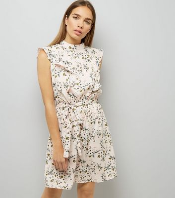 Shell Pink Floral Print Frill Trim Dress