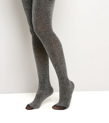 Silver Glitter Ribbed Tights